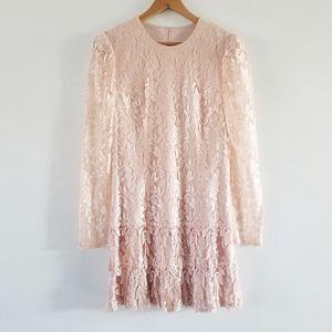 Vintage Le Art champagne pink lace cocktail dress